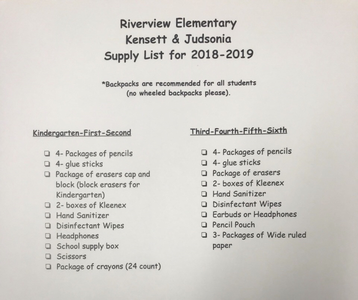 Riverview Elementary School Supply Lists