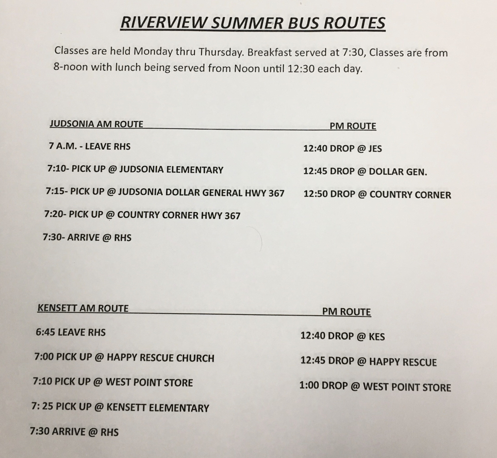 2019 Summer School Bus Schedule